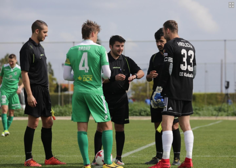 Ruch Chorzow - Gomel 2018 Cipru 2 Grigorovs (L), Erghelie (C), Viegas (R).png