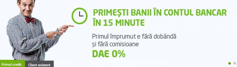 Zaplo Romania advert 'Receive Money in your account in 15 minutes. The first loan without interest and without commission'