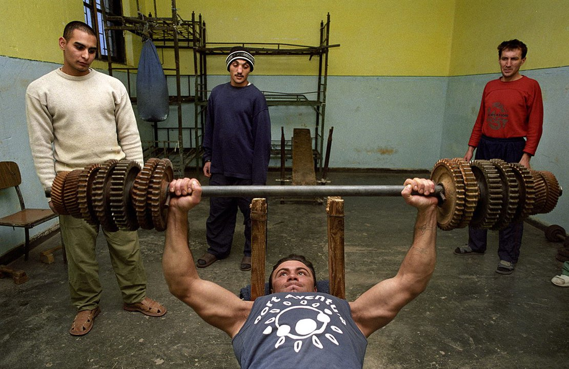 23 years old Mihail Marian, jailed for rape it`s practicing in the improvised gym of the Chilia prison