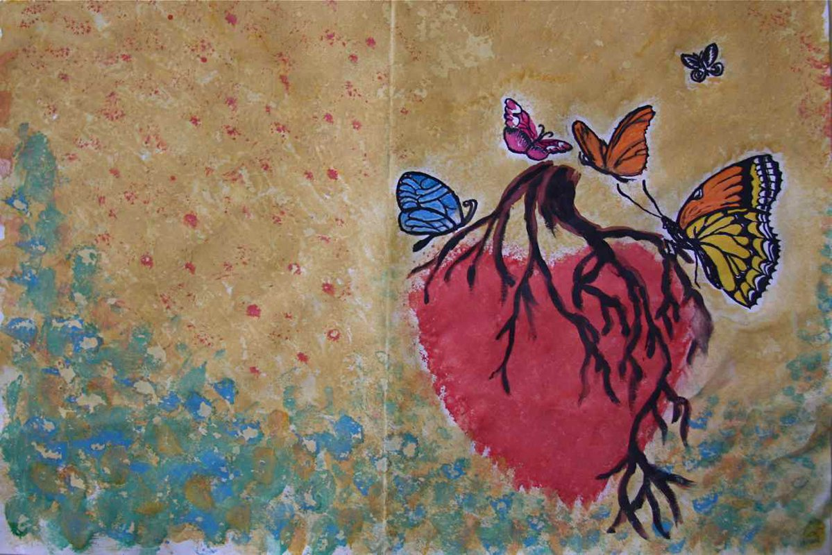 Butterflies feast on a heart, from the HIV Social Centre, Chisinau